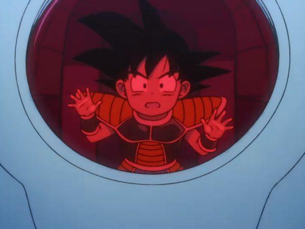 goku sendo enviado ao planeta terra